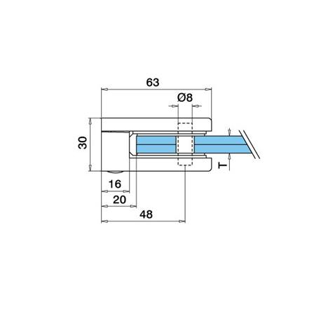 Glass Clamp 45x63 Flat 8,8.76,10 mm   Product technical drawing