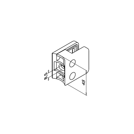Glass Clamp 45x45 OD 42.4 mm 6,8,8.76 mm | Product technical drawing