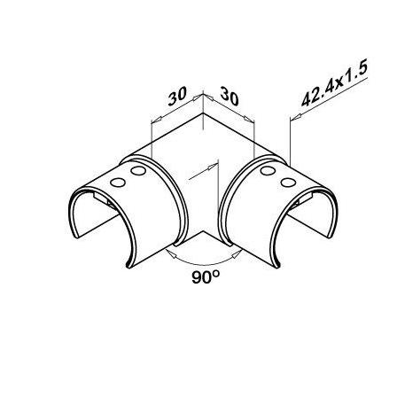 Connector 90° OD 42.4x1.5 mm   Product technical drawing