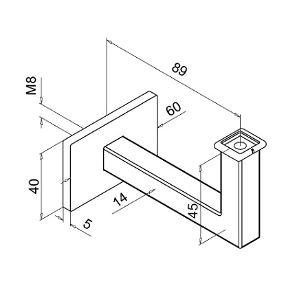Square Tube Support Flat   Product technical drawing