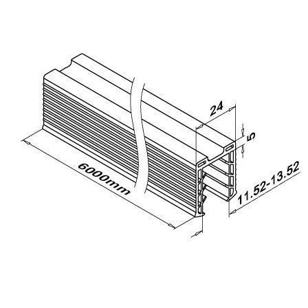 Rubber, 24x24 mm Slot, 11.5-13.5 mm Glass, L=6m | Product technical drawing