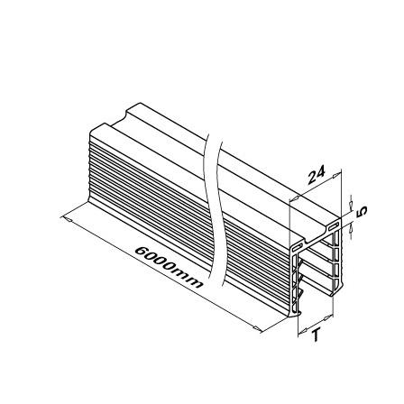 Rubber, 24x24 mm Slot, 19 mm Glass, L=6 m | Product technical drawing