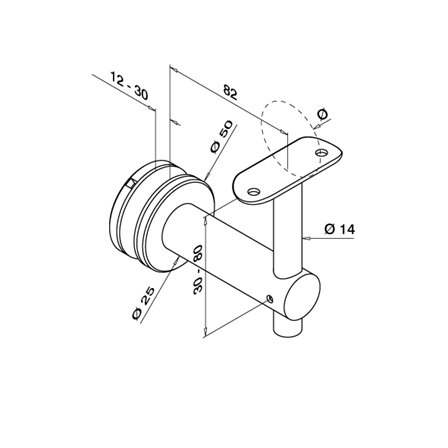 Tube Support OD 42.4 mm for Glass | Product technical drawing