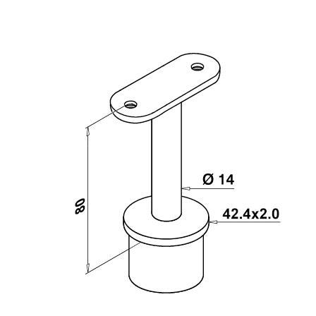 Käsipuuhoidik torule 42.4x2.0 mm, sileda tallaga   Toote tehniline joonis