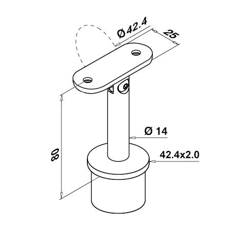Saddle 42.4x2.0 mm Flat/Adjustable | Product technical drawing