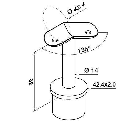 Käsipuuhoidik torule 42.4x2.0 mm, ümara 42.4 mm tallaga 135°   Toote tehniline joonis