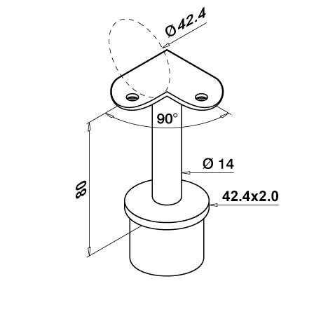 Saddle 42.4x2.0 mm OD 42.2 mm/Angle 90°    | Product technical drawing