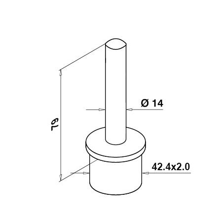Tube Support 42.4x2.0 mm | Product technical drawing