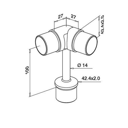 Connector 42.4x2.0 mm OD 42,2 mm/0-90° Adjustable | Product technical drawing