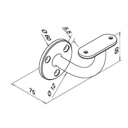 Tube Support Flat | Product technical drawing