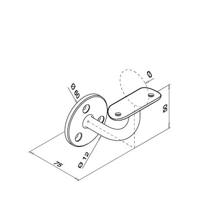 Turētājs, stiprināms pie sienas, ar balstu, 42,4 mm | Produkta tehniskais rasējums