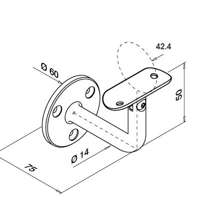 Tube Support OD 42.4 mm Adjustable   Product technical drawing