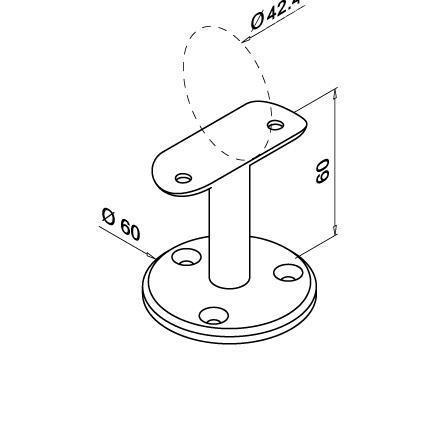 Turētājs ar balstu, 42,4 mm | Produkta tehniskais rasējums