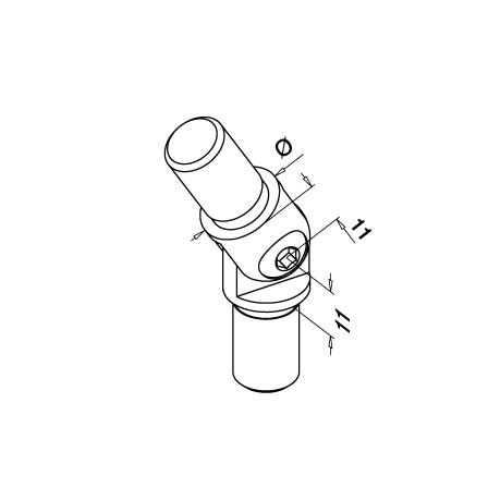 Connector 16.0x1.0 mm 90-270° Adjustable   Product technical drawing
