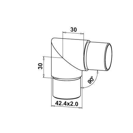 Kulmakappale 90° putkelle 42.4x2.0 mm terävä | Tuotteen tekninen kuva