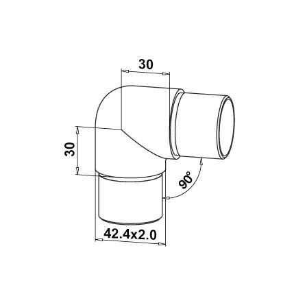 Connector 42.4x2.0 mm 90° Round Corner | Product technical drawing