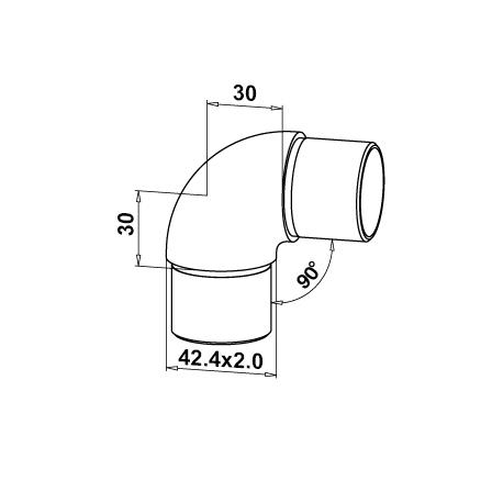 Connector 42.4x2.0 mm 90° Curved Corner | Product technical drawing