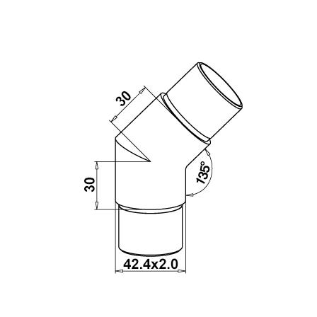 Connector 42.4x2.0 mm 135° Sharp Corner | Product technical drawing