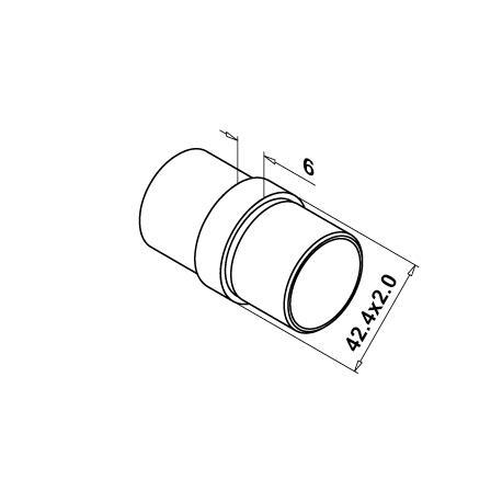 Caurules savienotājs, 42,4x2,0 mm | Produkta tehniskais rasējums