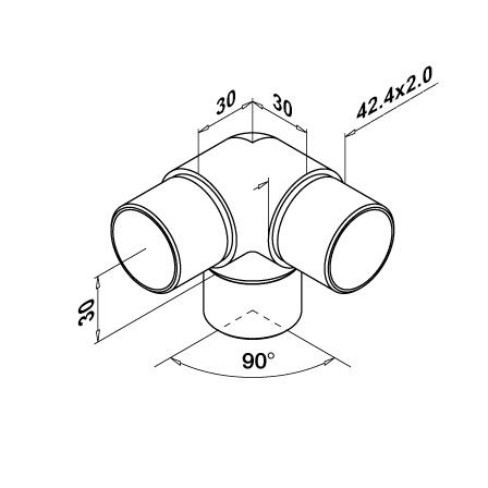 Connector 3 way 90° OD 42.4x2.0 mm | Product technical drawing