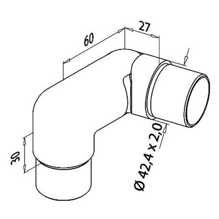 Connector OD 42.4x2.0 mm Right Adjustable   Product technical drawing