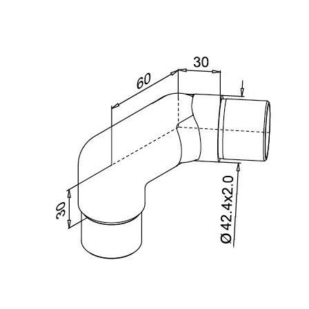 Connector OD 42.4x2.0 mm Left Adjustable | Product technical drawing