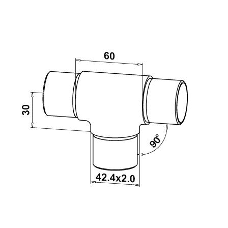 Connector 3 Ways (T) OD42.4x2.0 mm | Product technical drawing