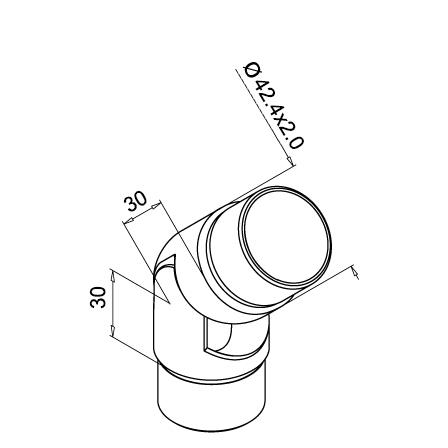 Connector 42.4x2.0 mm 0-70° Adjustable   Product technical drawing