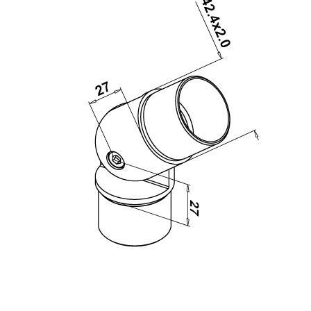 Roktura savienotājs, regulējams, 42,4x2,0 mm | Produkta tehniskais rasējums