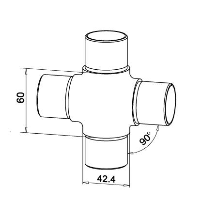 Connector 4 Ways OD 42.4x2.0 mm | Product technical drawing