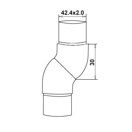 Connector 42.4x2.0 mm 45°/45° Adjustable  | Product technical drawing