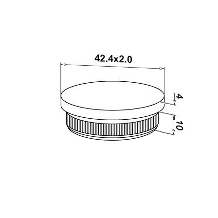 End Cap Flat OD 42.4x2.0 mm   Product technical drawing