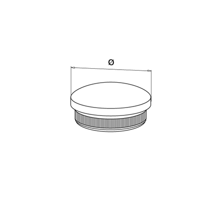 End Cap 42.4x2.0 mm Tapered   Product technical drawing