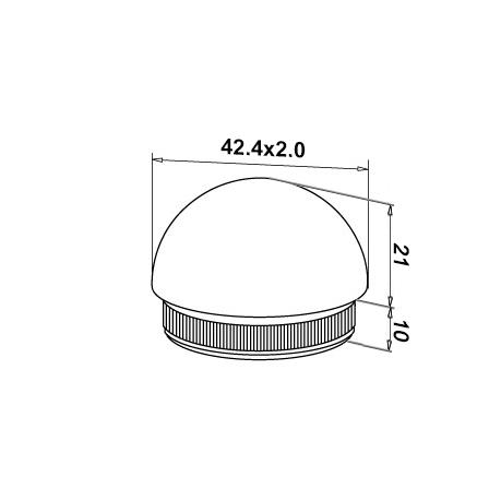 End Cap 42.4x2.0 mm Domed | Product technical drawing