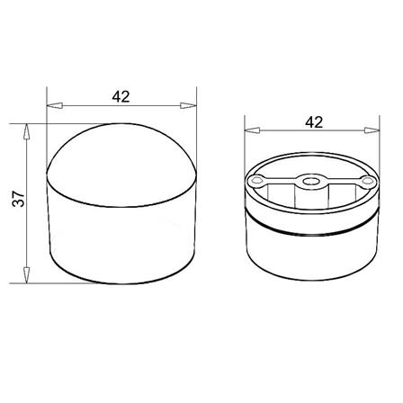End Cap Tapered OD 42.0 mm Wood | Product technical drawing