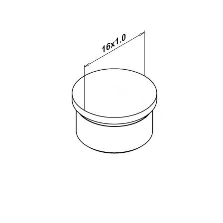 End Cap 16.0x1.0 mm Tapered | Product technical drawing