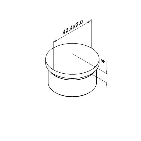 End Cap Tapered OD 42.4x2.0 mm | Product technical drawing