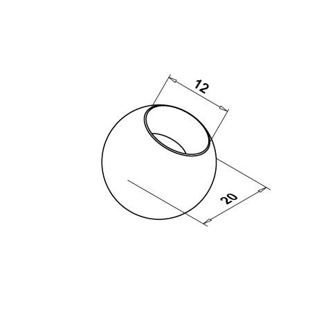 End Cap OD 12.0 mm Ball | Product technical drawing