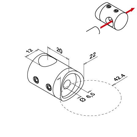 Holder OD 42.4 mm 12 mm   Product technical drawing