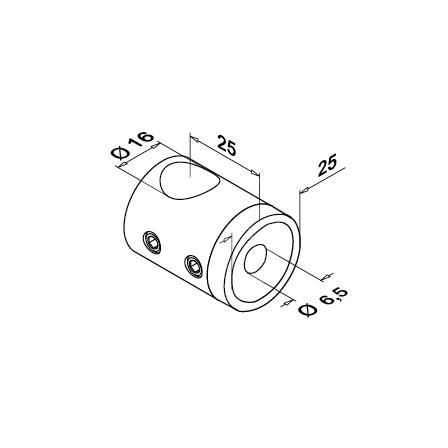 Holder Flat 16 mm   Product technical drawing