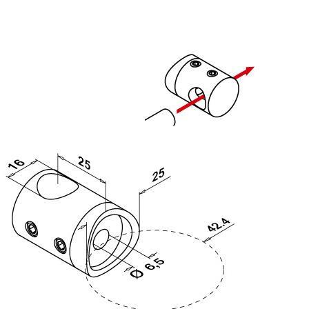 16 mm varda kinnitus ümartorule D42,4 mm | Toote tehniline joonis