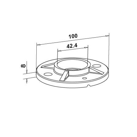 Base Plate OD 42.4 mm D=100 mm | Product technical drawing