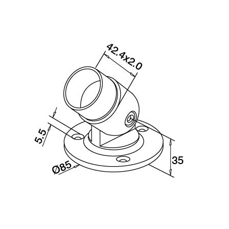 Base Plate OD 42.4 mm D=85 mm Adjustable | Product technical drawing