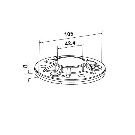 Base Plate OD 42.4 mm D=105 mm | Product technical drawing