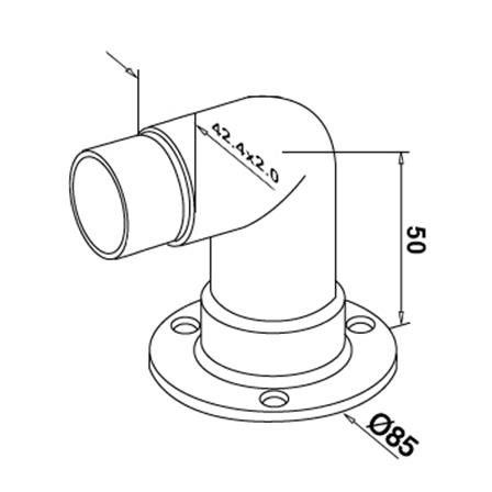 Base Plate OD 42.4 mm D=85 mm Connector 90° | Product technical drawing