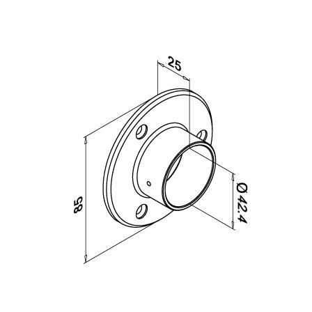 Seinäkiinnike putkelle 42.4x2.0 mm | Tuotteen tekninen kuva