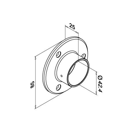 Holder OD 42.4 mm Wall-mounted | Product technical drawing