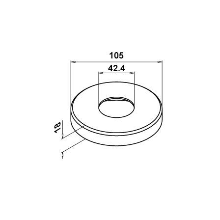 Base Cover OD 42.4 mm D=105 mm | Product technical drawing