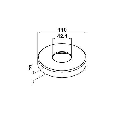 Uzliktnis statņa pamatnei, 42,4 mm, D=110 mm | Produkta tehniskais rasējums
