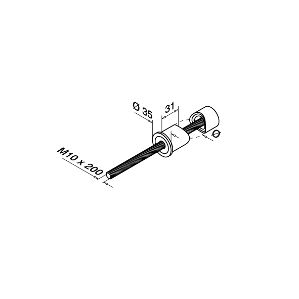Wall Bracket OD 42.4 mm Fix Point | Product technical drawing